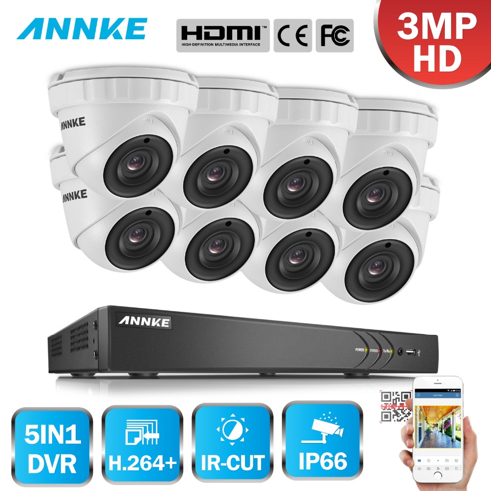 ANNKE Full HD 16CH 3MP 1920*1536 CCTV System H.264+ DVR 8pcs Security IR Outdoor Waterproof Camera Onvif Video Surveillance Kit home security system 16ch h 264 motion detect camera system dvr kit with 800tvl waterproof outdoor ir night vision cctv camera