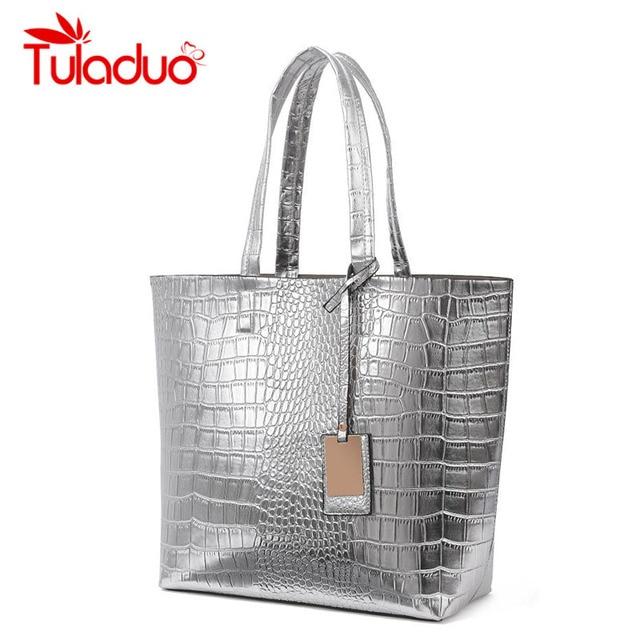 Women PU Leather Bag Top Handle Bags 2016 Fashion Ladies Spanish Clutch Alligator Crocodile Handbags Large Shoulder Casual Bags