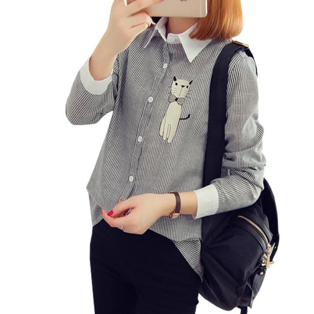 Вышивка Кошка Женские Блузки С Длинным Рукавом в Полоску Блузка Рубашка Женщин 2016 Осенью Новый Корейский Моды Случайные Лоскутные Женщины Топы