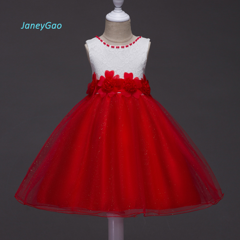 JaneyGao 2019   Flower     Girl     Dress   For Wedding Party Baby   Girl   Formal Wear Sleeveless With Bow Red And White Pageant On Sale