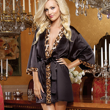 Female Sexy lingerie leopard print heart Pattern erotic Women Dress Bathrobe Sleepwear Pajamas Nightdress Satin Robe Woman P20