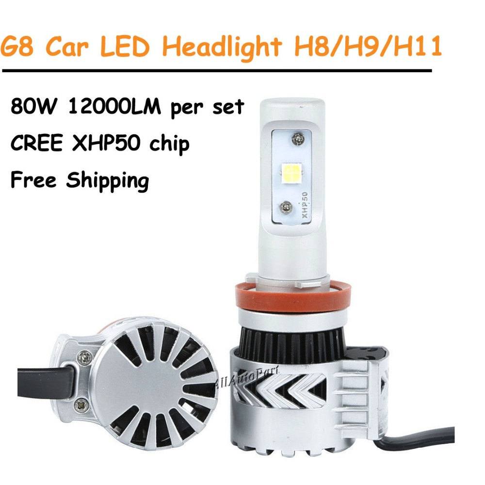 Free Shipping Super bright H4 H7 H8 H9 H11 9005 9006 5202 9012 G8 car led headlight bulb kit C ree XHP50 12000LM 80W 6500K white 2017 newest 9012 fanless led headlight conversion kit 6500k 6600lm c ree xhp 70 50w bulb h4 h7 h11 9005 9006 h13 9007 9004