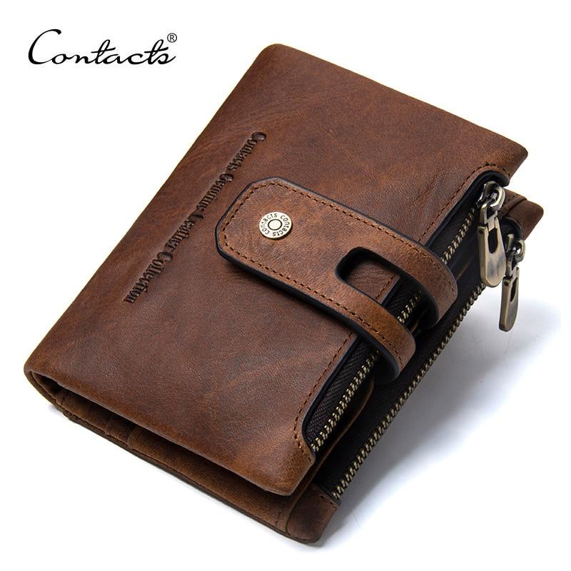 CONTACT'S portefeuille Crazy Horse en cuir véritable Double fermeture éclair Hasp portefeuilles court porte-monnaie avec porte-cartes mâle portomonee Walet