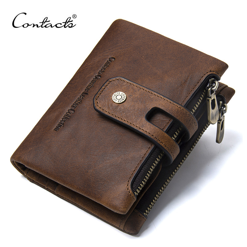 CONTACT'S Wallet Crazy Horse Genuine Leather Double Zipper Hasp Wallets Short Coin Purse With Card Holders Male Portomonee Walet