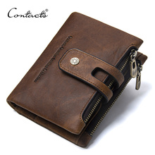 CONTACTS Wallet Crazy Horse Genuine Leather Double Zipper Hasp Wallets Short Coin Purse With Card Holders Male portomonee Walet