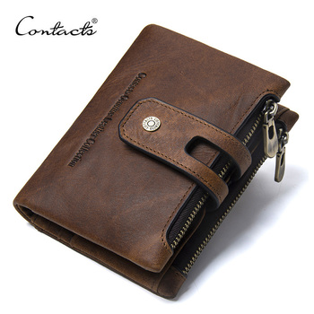 CONTACT'S Wallet Crazy Horse Genuine Leather Double Zipper Hasp Wallets Short Coin Purse With Card Holders Male portomonee Walet - discount item  48% OFF Wallets & Holders