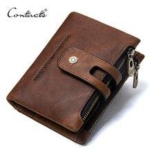 İletİşİm cüzdan çılgın at hakiki deri çift fermuarlı çile cüzdan kısa bozuk para cüzdanı kart sahipleri ile erkek portomonee cüzdan