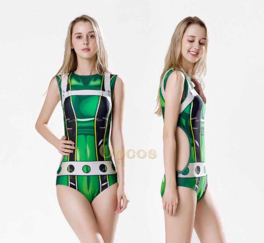 2018 New Women Asui Tsuyu Cosplay Costumes Swimsuit Women Green Sleeveless Sport Swimwear Sexy Zentai Jumpsuits