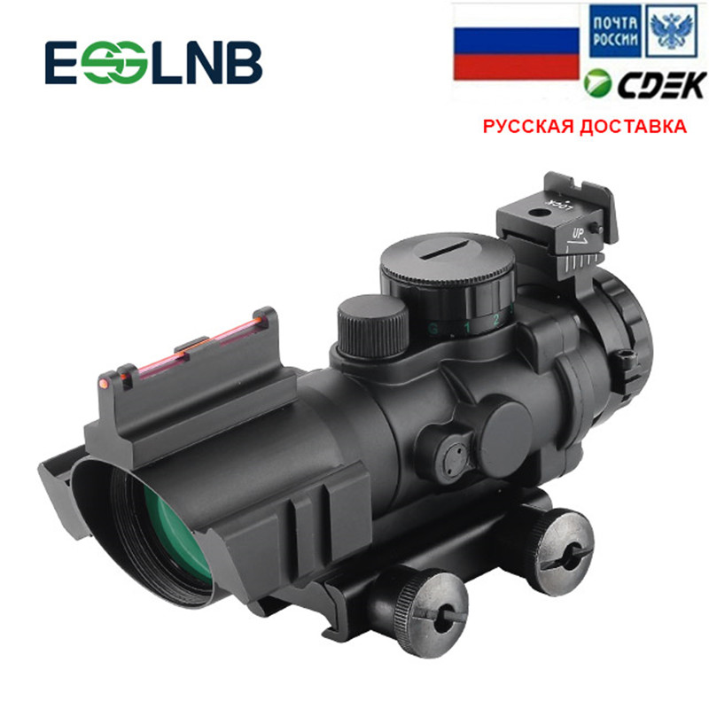 4X32 ACOG Optic Scope Riflescope Reticle Fiber Red Green Blue Illuminated Optic Sight With Red Dot Sight 20mm Rail For Hunting4X32 ACOG Optic Scope Riflescope Reticle Fiber Red Green Blue Illuminated Optic Sight With Red Dot Sight 20mm Rail For Hunting