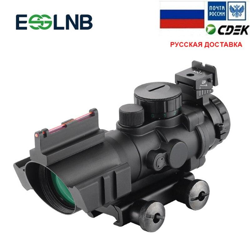 Lunette de visée optique 4X32 ACOG réticule à Fiber optique rouge vert bleu avec visée à point rouge Rail de 20mm pour la chasse