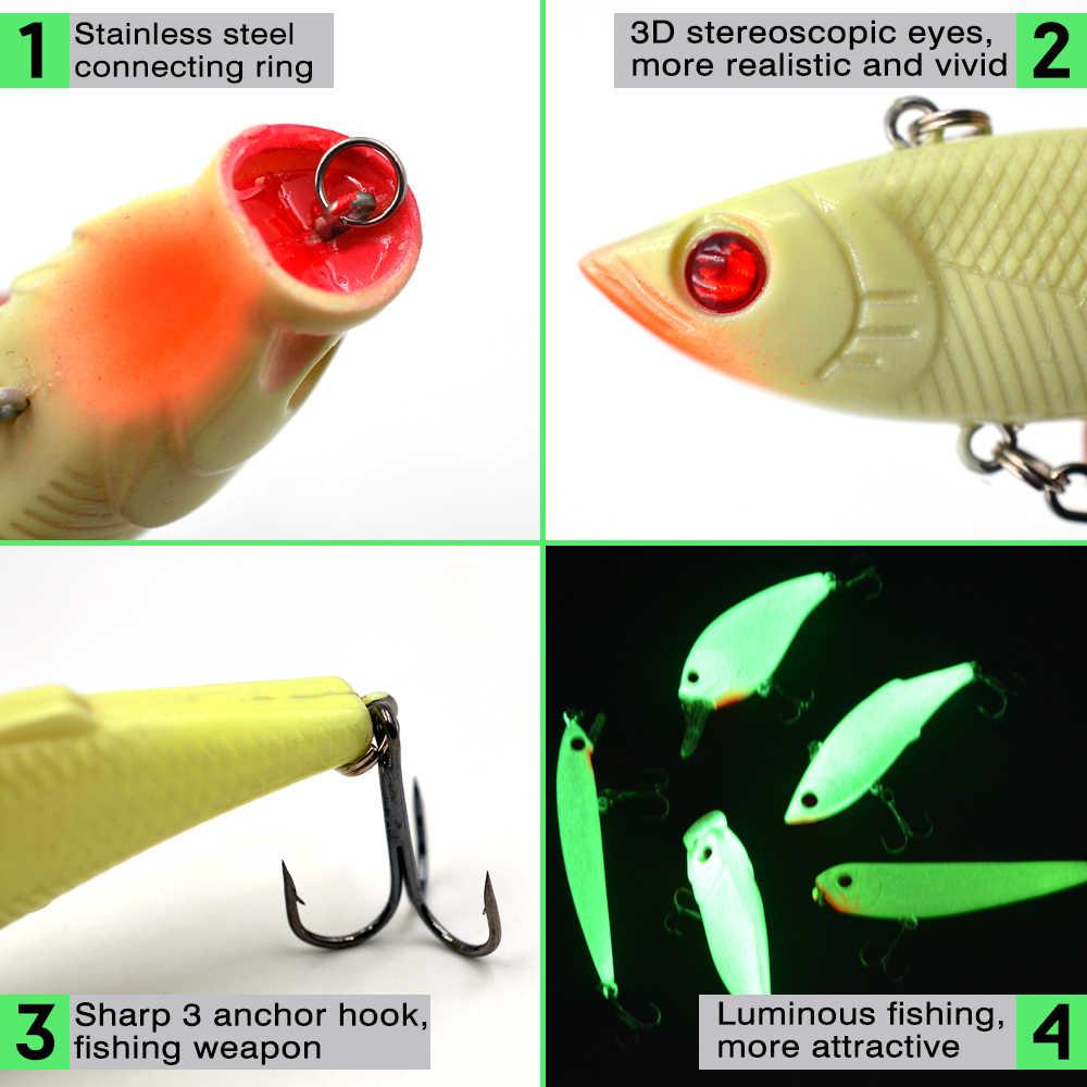MNFT 5 قطعة الصيد إغراء الطعم عدة مضيئة عيون ثلاثية الأبعاد VIB بوبر كرنك البلمة قلم رصاص البحر الصيد الثابت الطعوم خطاف ثلاثي السحر