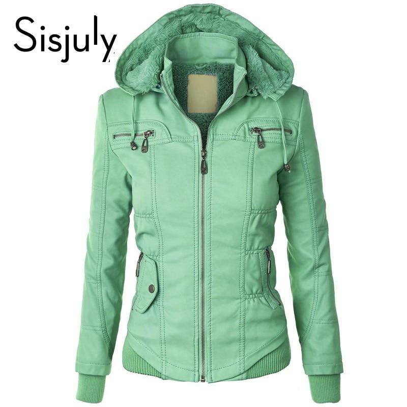 Sisjuly women european coat zipper hoodies cap long sleeve autumn winter jacket coat