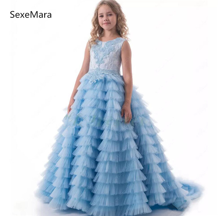 Sky Blue Customized   Girls   Pageant   Dresses   Ball Gown Tiered Puffy Tulle Princess   Flower     Girl     Dresses   Kids Birthday Party Gowns
