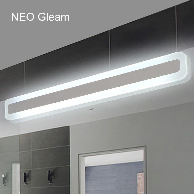 US $47.2 20% di SCONTO|NEO Barlume Moderno bagno/wc anteriore LED luci  specchio bagno luci specchio acrilico Camera Da Letto 0.4 m 1.2 m 8 W 24 W  AC85 ...