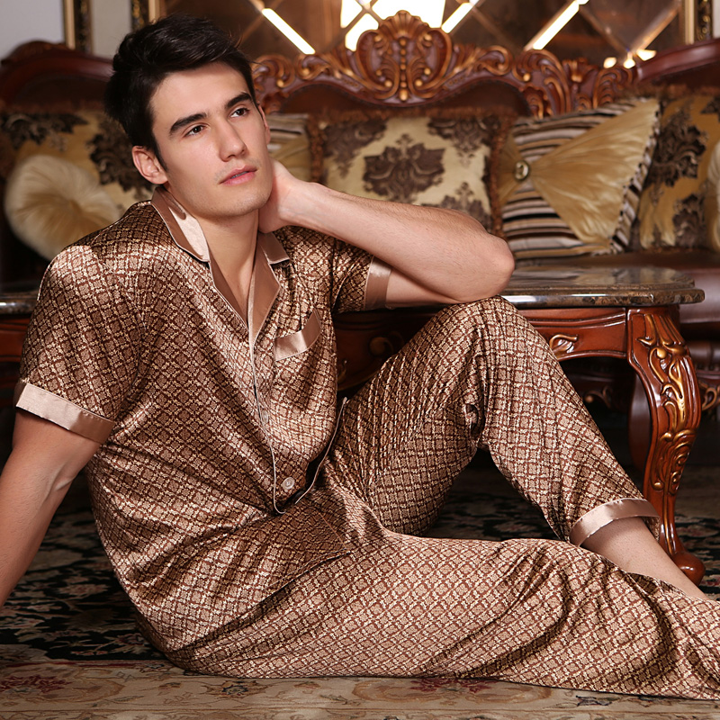 Mens Pyjamas Trousers Summer Short Sleeve Sleepwear Silk Thin Men's Sleep Lounge Pajama Set