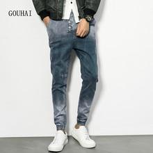 Европейский Американский Стиль Мужчин Джинсы Гарем Брюки мужские Джинсовые брюки Хлопок 2016 Модный Бренд Джинсы Мужчин Плюс Размер M-4XL 5XL