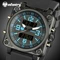 INFANTARIA Militar Esportes Dos Homens Relógios Rosto Quadrado Relógios Luminosos Dupla Digital de Alarme de Pulso Relógios de Quartzo Relojes Hombre