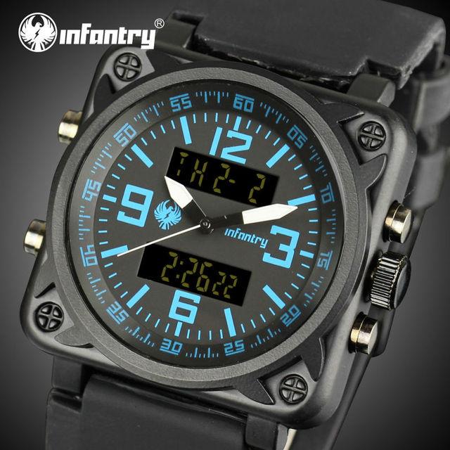 INFANTERÍA Hombres Relojes Cara Cuadrada Deportes Relojes Despertadores Luminoso Dual Digital Relojes de pulsera de Cuarzo Militar Relojes Hombre