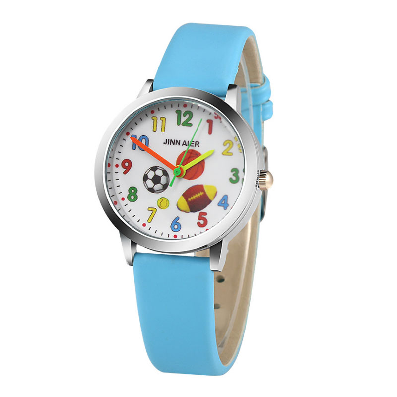 Children's Watch Cartoon Basketball Football Pattern Cute Boy Sports Watch Girl Leather Children Wristwatches montre enfant