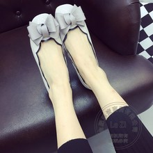 Glossy Women's Shoes Summer Shoes Performance Runway Gray Laciness IT Girl Bow Solid Color Leather Shoes Women Pu