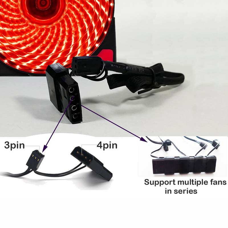 Image 5 - 10pcs/1pcs portable fridge 12cm Computer Cooler Fan 16dB Ultra Silent 15 LEDs PC Game Airflow Fans with 2in1 Cable Cool Heatsink-in Fans & Cooling from Computer & Office