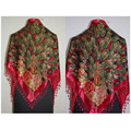 Free Shipping Red Women's Triangle Velvet Silk Beaded Embroider Shawl Scarf Peafowl   SW09-B