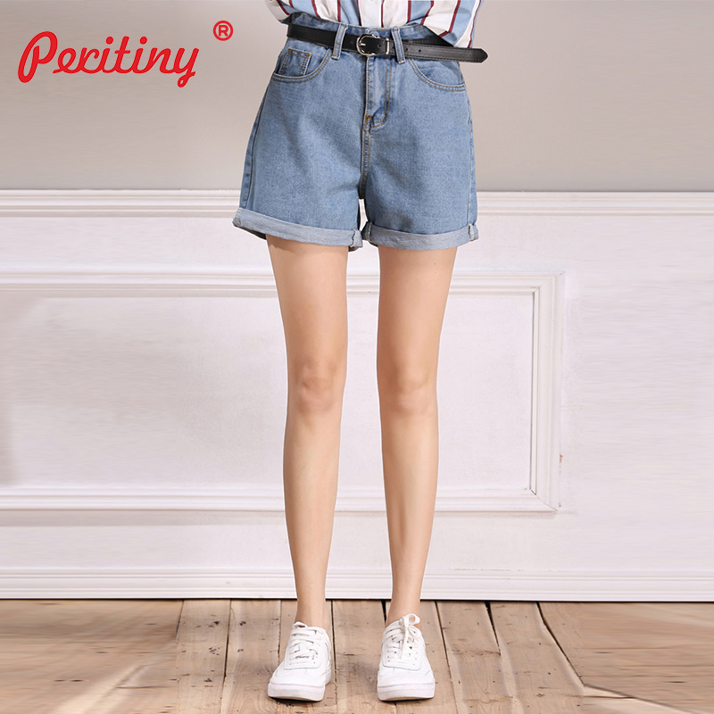 Peritiny 2018 Denim   Shorts   for Women High Waisted   Shorts   with A Belt Light Blue Trousers Female Casual Fashion   Short   feminino