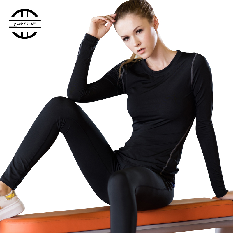 Base Layer Fitness Sport Shirt Mujeres de secado rápido Manga larga Top Gym jogging lady Camiseta de entrenamiento Tren Ropa blanca de yoga