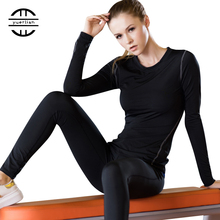 Base Layer Fitness Sport Shirt Quick Dry Women long Sleeves Top T-shirt Gym jogging Shirt lady Training Yoga workout clothing