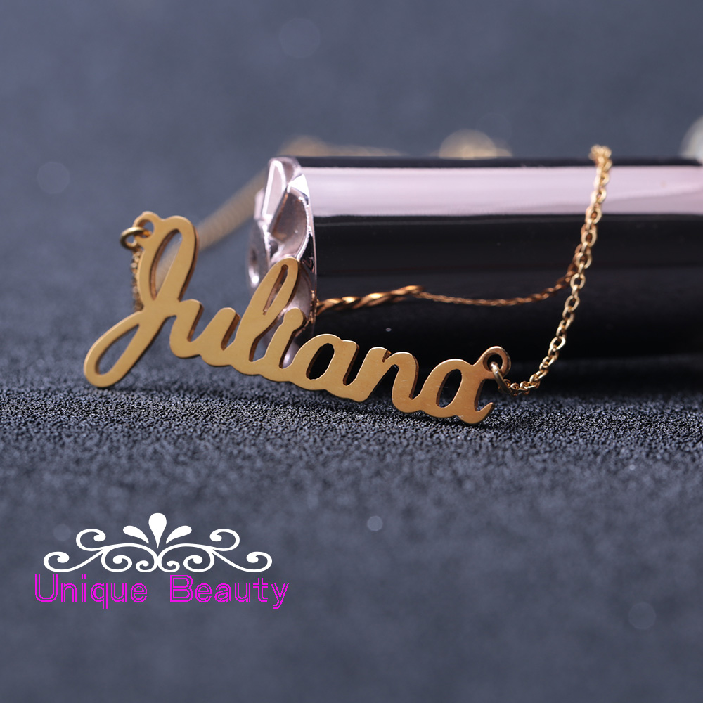 Custom Name Necklace Rose Gold Color Personalized Nameplate 925 Solid  Silver Necklace Mother's Day Gift(