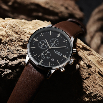 Megir Quartz Watches Men Luminous Waterproof Sports Watch Man Commercial Leather Wristwatch 2011 Drop Shipping