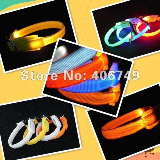 10pcs/lot mix color free shipping Luminous LED Pet Collar