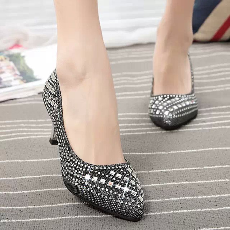 Popular Low Heel Special Occasion Shoes Buy Cheap Silver Rhinestone Wedding