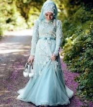 MZYW0356 full long sleeve high neck with hijab beaded vestido de noiva de renda long sleeve muslim wedding dress
