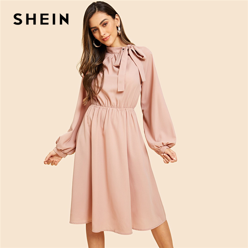 a219e7f0c96a SHEIN Pink Vintage Elegant Solid Tie Neck Pleat Detail Balloon Sleeve Knee  Length Dress Autumn Workwear