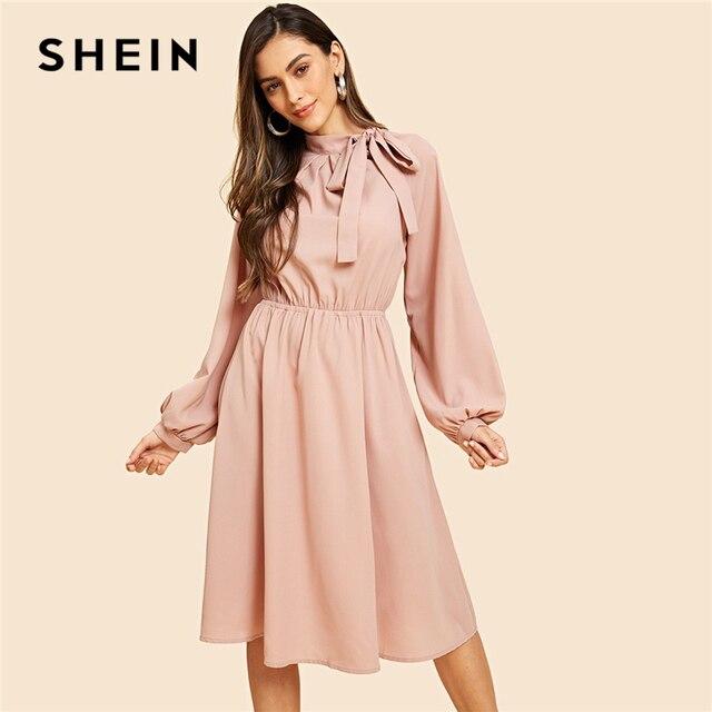 SHEIN Pink Vintage Elegant Solid Tie Neck Pleat Detail Balloon Sleeve Knee  Length Dress Autumn Workwear Women Dresses 7591277cba
