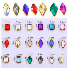 100pcs Rhombus /Square Charms With Cz RHINESTONES Charms For Nails Metal Charms 3D Nail Art Decorations,Alloy Nail Charm#324-340(China)