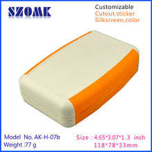 szomk plastic housing (10pcs/lot) handheld enclosure with 9v battery case in orange 118*78*33mm