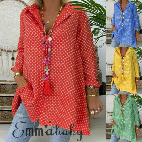 Women Summer  2019 Polka Dot Long Sleeve Shirt Tops Ladies Loose Blouse Plus Size 3XL Casual Beach Maxi Shirts New
