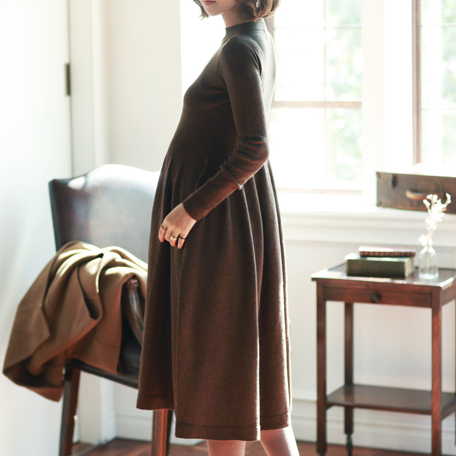 ZBAIYH Материнство платье осень зима хлопок вязаный Oneck длинный рукав свитер платье для беременных женщин сплошной цвет элегантное платье