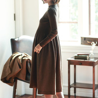 ZBAIYH Maternity Dress Autumn Winter Cotton Knitted Oneck Long Sleeve Sweater Dress for Pregnant Women Solid Color Elegant Dress