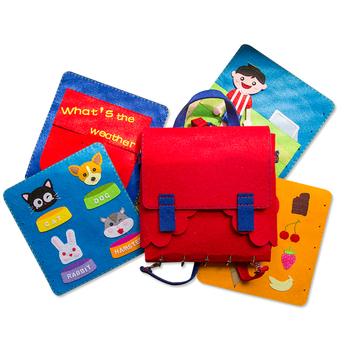 2019 nowy DIY cicha książka dziecięca wczesna edukacja torba na książki 2 w 1 filcowa książka obrazkowa mama krawiectwo zestawy zabawki dla dzieci moja pierwsza książka tanie i dobre opinie Postać ludzka AM105-370 Felt DIY KIDS CLOTH BOOK