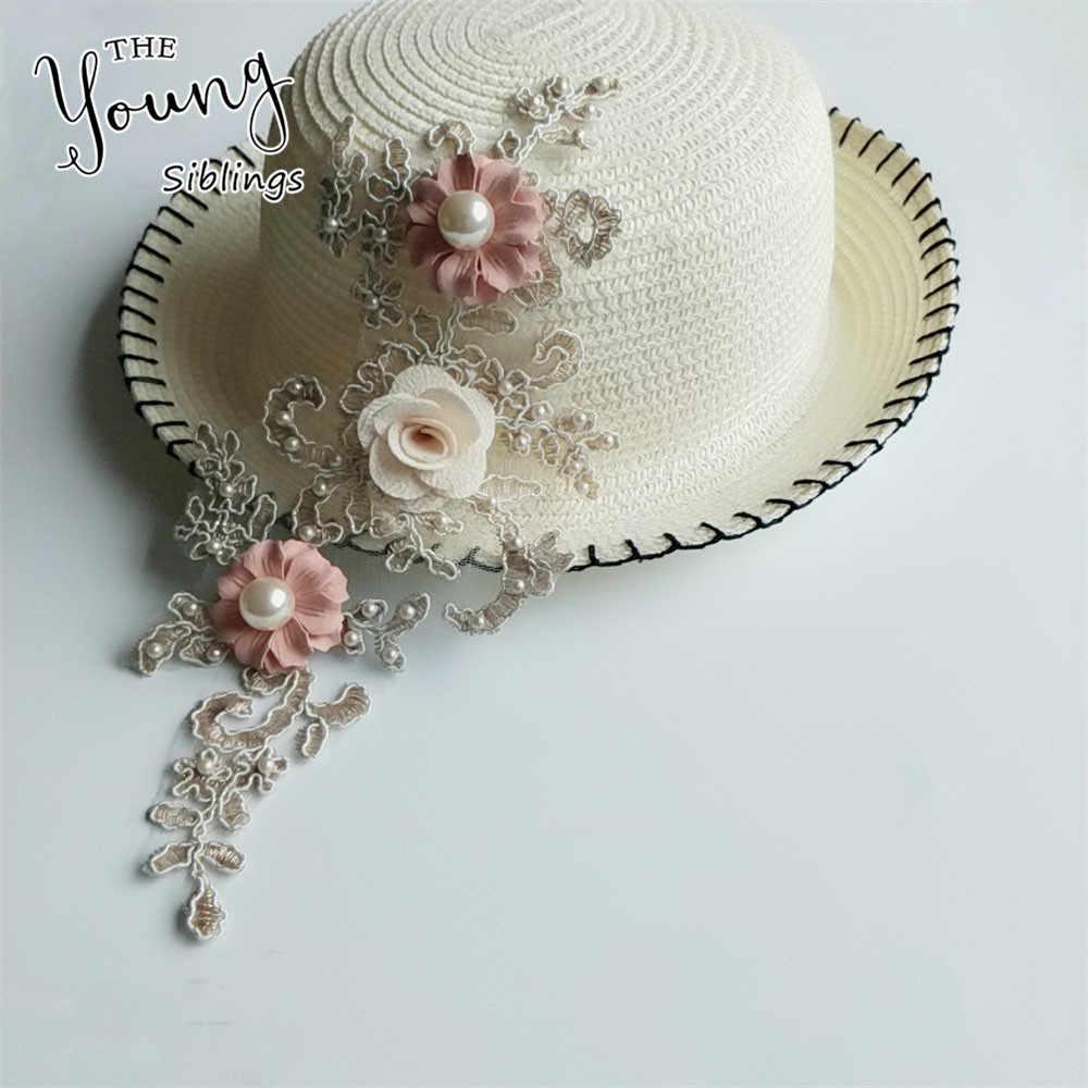 Baru Mutiara ABS 3D Bunga Diy Bordir Patch Renda Bordiran Menjahit Patch Bunga Renda Kerah Kostum untuk Pernikahan Gaun dekorasi