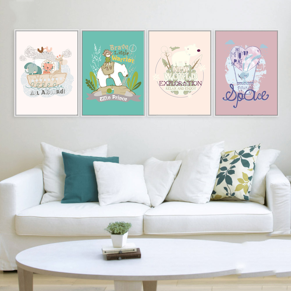 Mix 5 Designs Rabbit Cute Animal Wall Sticker For Kids Rooms Baby Room Poster Home Decor Abstract Paintings Canvas Painting
