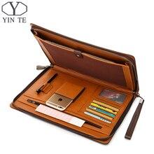 YINTE Fashion Leather Men s File Folder Bag A4 Paper Business Clutch Bag One Zipple Wallet