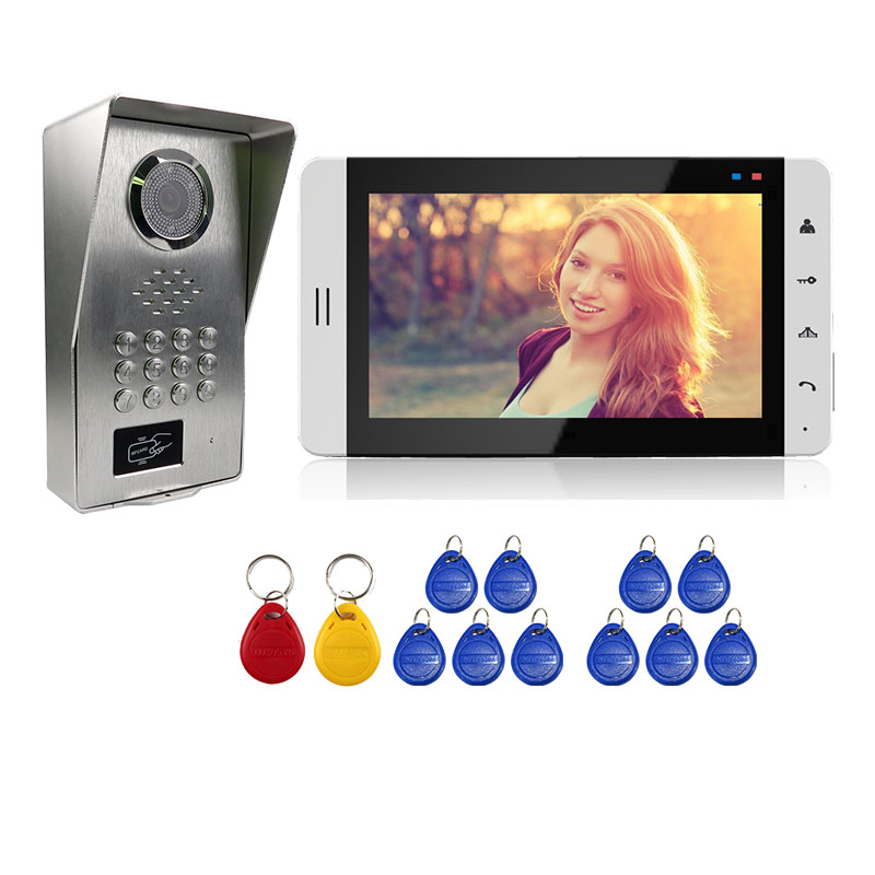 Grenseure FREE SHIPPING 7 Touch White Monitor Video Door Phone Intercom System + Waterproof RFID Code Keypad Doorbell Camera free shipping wire 7 lcd monitor video intercom door phone kit waterproof rfid code keypad doorbell camera magnetic lock