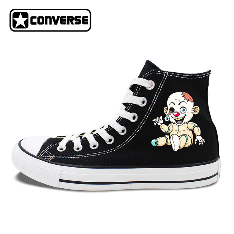 Black White Converse All Star Design Creepy Zombie Doll Zombie Dog Skateboarding Shoes High Top Unisex Canvas Sneakers