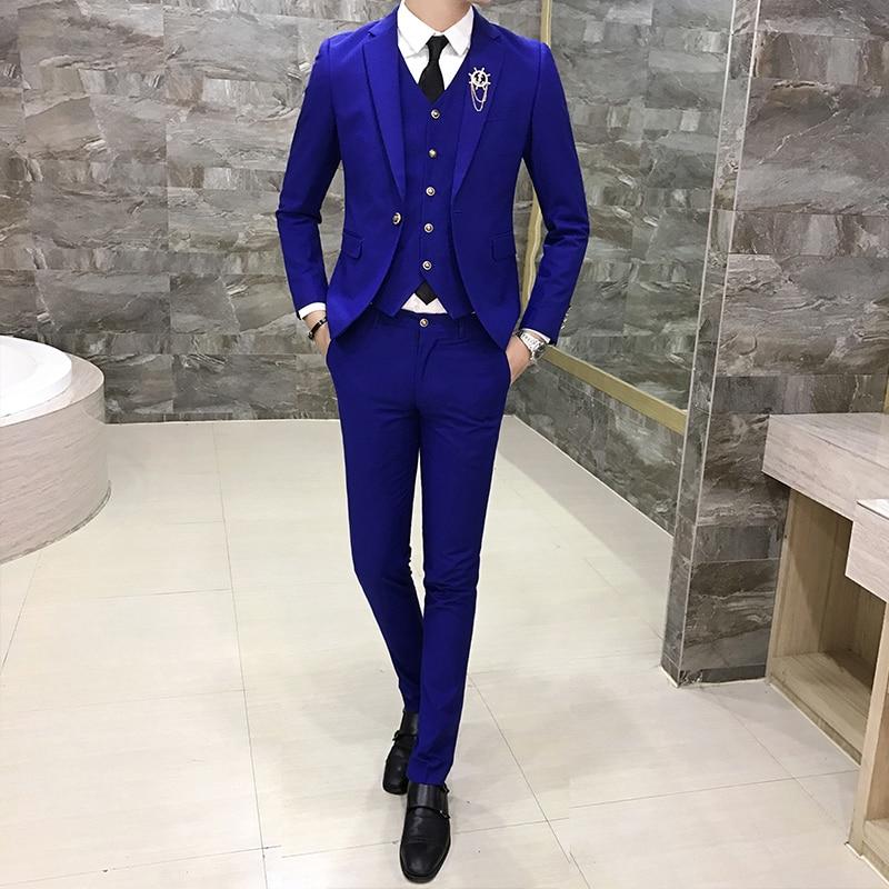 2019 New Mens Suits 3 Pieces Set, Business Groom Wedding Dresses Male Blazer Jackets + Vests + Pants, 7 Color Options S-3XL