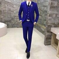 2019 new Mens Suits 3 Pieces Set, Business Groom Wedding Dresses Male Blazer Jackets + Vests + Pants, 7 Color Options S 3XL