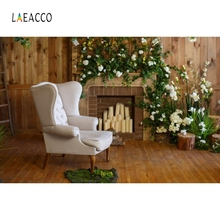 Laeacco Wooden Board Fireplace Flower Sofa Portrait Photography Backgrounds Customized Photographic Backdrops for Photo Studio